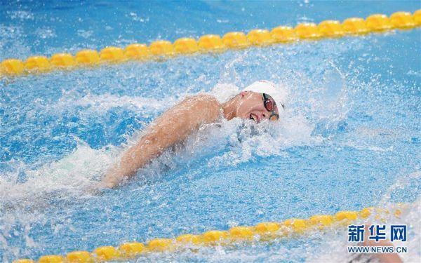(體育)(5)游泳——全國冠軍賽:余賀新獲得男子100米自由泳預賽第一名