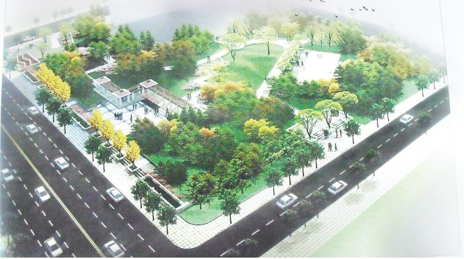 榆阳路小游园 (效果图) 今年6月份, 榆林市又将增添一道亮丽的风景, 市民们也多了一个休憩游玩的好去处榆阳路小游园。该园位于榆阳路与肤施路交叉口 (汽车南站正对面) , 建成后将面对广大市民免费开放。 榆林市住房与建设局相关工作人员介绍, 榆阳路小游园今年3月份开始施工修建, 总投资260万元, 设计总面积为7341平方米, 是一处具有地方风格特色的生态型景观绿地游园。目前,园内的树木已经栽种完毕, 道路也已修好。接下来, 还要种植园内草坪, 安装座椅、 健身器材等设施, 预计今年6月份完工。 榆阳